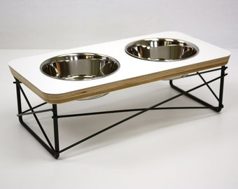 Modern Pet Feeder - Dog Bowl or Cat Bowl Elevated Feeder Mid Century Modern Design Eames Inspired in White Color