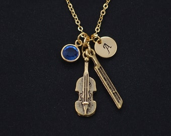 violin necklace, gold filled, initial necklace, birthstone necklace, gold violin charm, gift for music lover, violin player, violin teachers