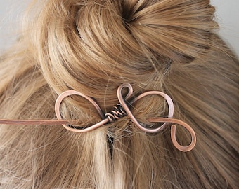 Plain Copper Hair Stick, Metal Hair Clip, Hair Pin, Hair Barrette, Shawl Pin, Handmade Hair Accessories for Women Mom Gift for Her