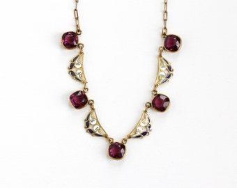 Sale - Antique Art Deco Simulated Amethyst Enamel Brass Necklace - 1920s Filigree Panel White & Purple Enamel Glass Stone Costume Jewelry