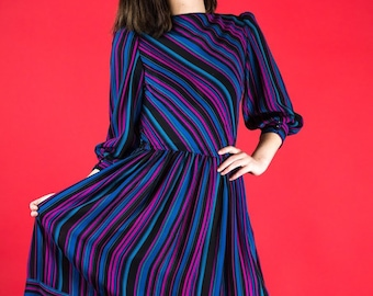 SM 80s gem tone striped dress with bishop sleeves and cinched waist