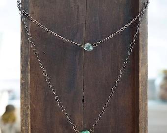 Druzy Quartz Necklace • Fluorite Chip • Gemstone Necklace • Antique Bronze Necklace • Two-Toned • Healing Gemstone • Layered Necklace
