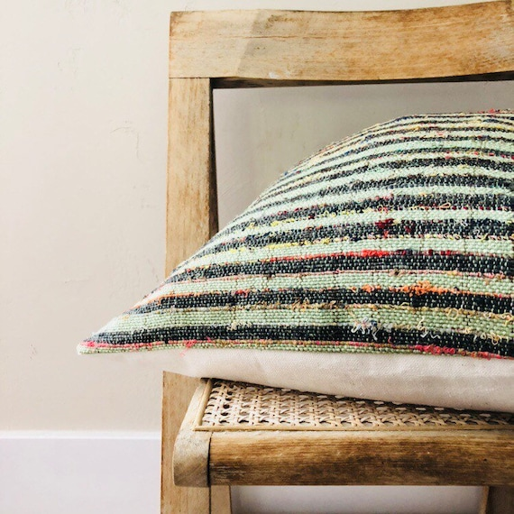 "Boho Green Striped Pillow Cover 18""x18"" Square Cushion Pillow Woven Natural Cotton Sage Green Black Stripes with Speckled Color"