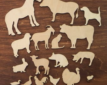 Set of 17 Wood Farm Animal Cut Outs, Farm Animals, Craft Ideas, Unfinished Wood Animal Cut Outs