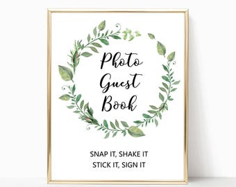 Greenery photo guest book sign printable, garden wedding photo guestbook sign, wedding signs green wreath wedding decorations decor W05