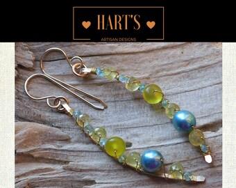 Green Chrysoberyl Gemstone Pearl  Earrings