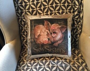 Sow Sisters unique pig pillow