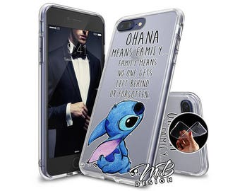 Case Cover Soft Case for iphone 6 7 8 X and iphone 6 7 8 Plus type Lilo & Stitch OHANA
