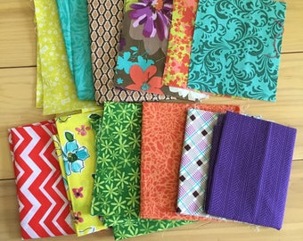 Assorted Colorful Fabric Scrap Pack Quilting Remnants