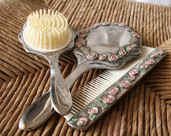 Vintage Silver Rose Pattern Vanity Comb Brush Mirror Set