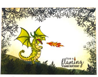 Dragon Card | Hand Inked and Stamped Greeting Card | Birthday | Magical |