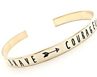 Personalized Skinny Gold Cuff Bracelet - Be Brave & Courageous - Inspirational Jewelry Hand Stamped Stacking Cuff - Nu Gold - Gift for Her