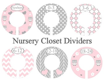 Baby Nursery Closet Dividers, Cute Owl Nursery, Pink and Gray Nursery, Custom Divider for closet, Plastic Clothes Divider