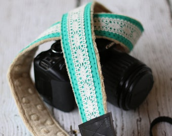 Polka Dot Lace Camera Strap, dSLR Camera Strap, Camera Strap Vintage, Photographer Gift, Camera Strap Cover Alternative