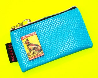 The Hound Deep Turquoise Vintage Matchbook Cover Blue Zippered Pouch Coin Purse Cosmetics Bag