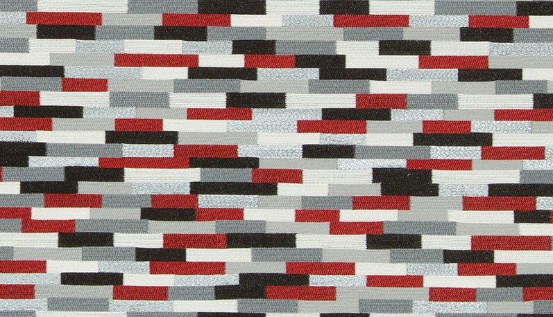 Red Grey Upholstery Fabric by the Yard Modern Black White