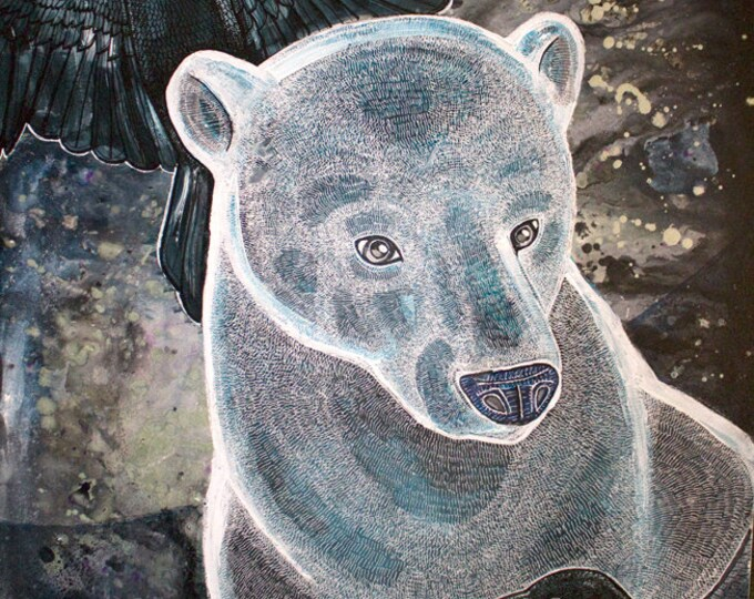 Polar Bear and Ravens Original Art by Lynnette Shelley