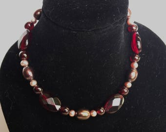 Garnet and Pearl Bracelet