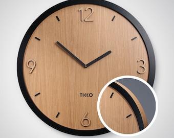 Tikko Tempus Exclusive - 600 mm size modren oak or birch wood big wall clock