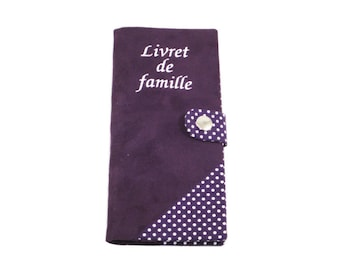Protects family purple suede and white polka dots cotton