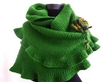 Green Shawl, Woman Scarf, Hand Knit Shawl, Cute Frilled, Ruffled Shawl Warm, Crochet Flower, Bridal Wrap, Bridesmaid