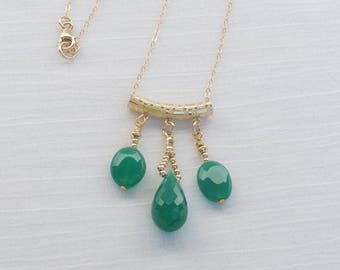 Green onyx and 14Kt gold filled necklace