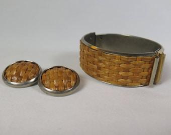 Vintage Rattan Bracelet and Round Earrings, Woven Basket Weave