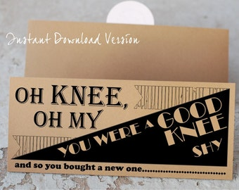 Knee Replacement Get Well Card- Digital Download- Printable Knee Replacement Card- Instant Download