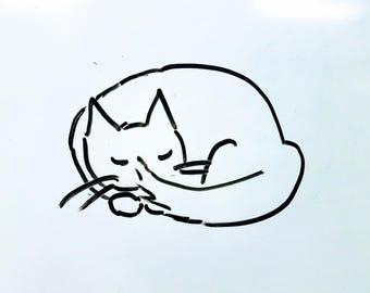 PRINT - ink sketch kitty sleeping - cat black and white minimalist - ready to frame art