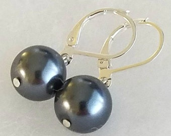 Iridescent Gray South Sea Shell Pearl Earrings Silver Filled Lever Backs Dangle Earrings Wedding Jewelry Anniversary Earrings Gift For Her