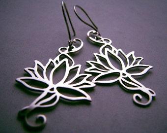 Sterling Lotus earrings handmade