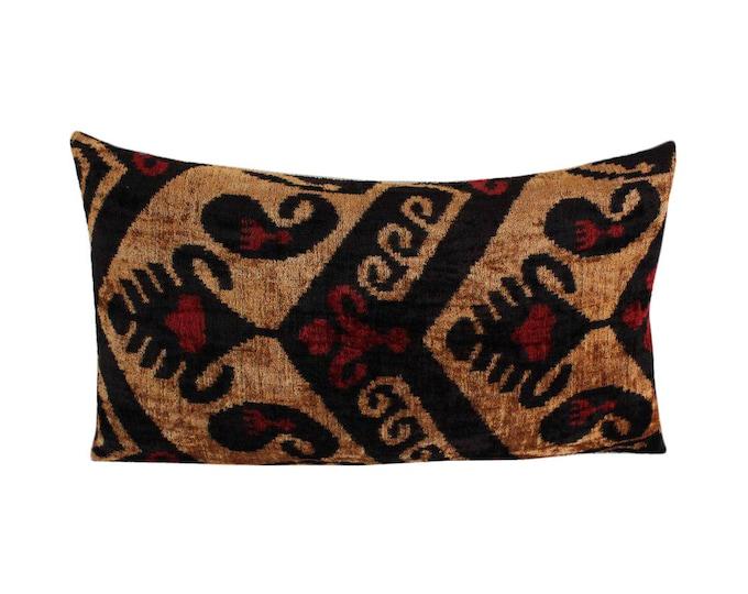 Silk Velvet Ikat Pillow Cover Lp493, Bohemian pillow, Velvet Ikat Pillow, Velvet Pillow, Velvet Pillow Cover, Ikat Pillows, Throw Pillows