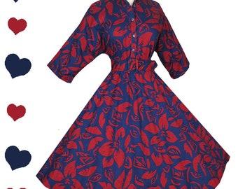 Vintage 80s Dress / American Shirt Dress / 80s 50s Shirt Dress / S Small Shirtwaist Cotton Floral Hawaiian Red Blue Full Skirt Rockabilly