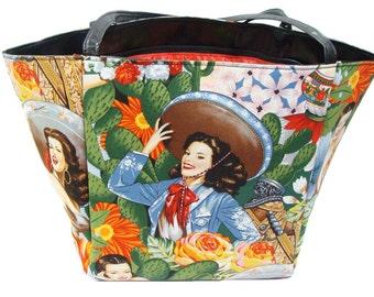 "USA Handmade Travel Bag Shoulder Bag Style With ""SENORITA "" Pattern HandBag Purse,  Cotton, new"