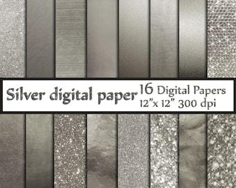 "Silver Digital Paper: ""SILVER FOIL PAPERS"" Platinum papers Metallic Silver Paper Silver Backgrounds Digital Silver Foil grey textures"