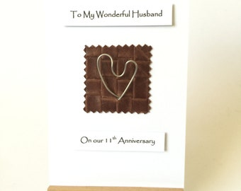 11th Wedding Anniversary Card Steel Heart Leather Steel Anniversary Fancy Handmade Cards made in UK 11th Anniversary Husband Wife Him Her