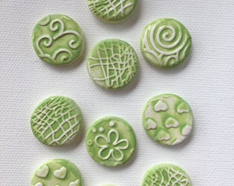 10 Handcrafted Bright Lime Green And White Round Tiles That Can Be Used In Mosaic And Other Mixed Media Projects