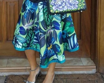 Genuine Wax Print Skirt with 3D Embroidery Detailing