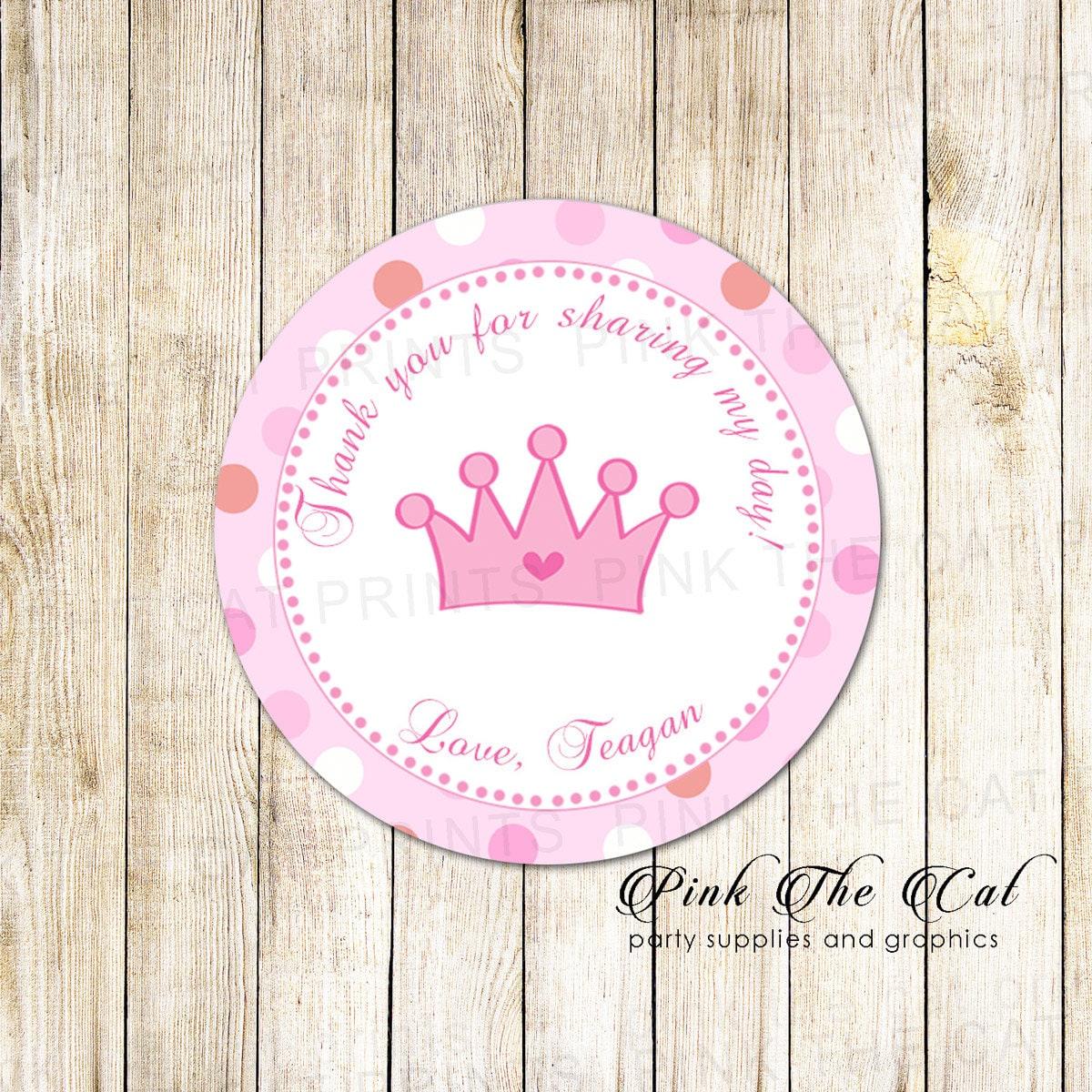 Pink Princess Birthday Thank You Labels Princess Gift Favor