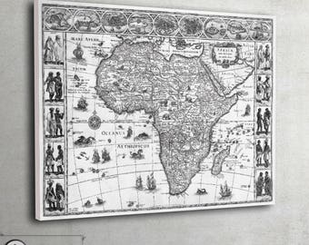 "Vintage Africa map on canvas Black and White Framed and ready to hang, large art print up to 30"" x 40"" - 050"