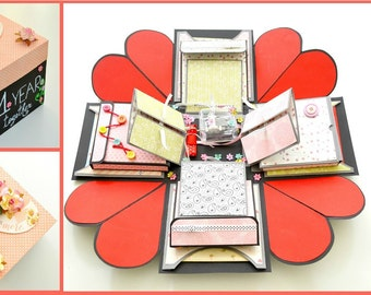 Tutorial - Red Heart - Explosion Box - Step by step instructions
