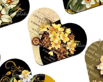 Digital Collage Sheet Vintage Flowers 1 inch heart shape images  Original  Printable 4x6 inch sheet Scrapbooking  Jewelry Making 137