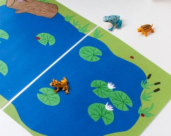Frog Toy Printable Play Mat. Quiet Toy and Travel Play Set