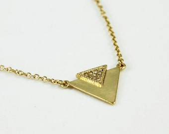 Triangle Necklace, Gold and Diamante, Geometric Jewellery, Gold Triangle, Aztec Style Necklace
