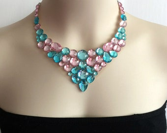 aqua blue and light pink collar bib tulle  necklace, wedding, bridesmaids necklace.