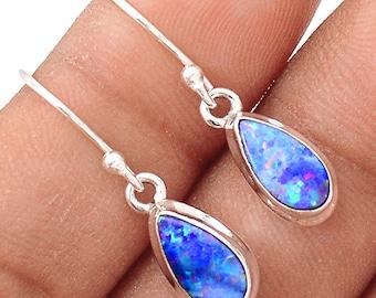 """Stunning! Australian Boulder Dangle Earrings. Natural Doublets. Australian Opal Earrings. 1 1/8"""" long. 7570"""