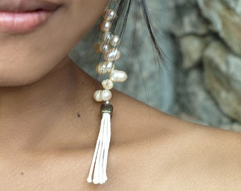Long Pearl Earrings, Bridal Pearl Earrings, Freshwater Pearl, Dangle Earrings, Tassels Earrings