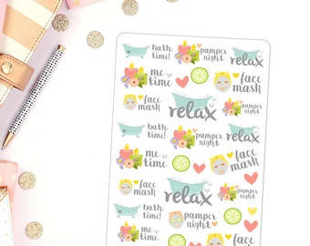 Pamper Night Planner Stickers for use in Erin condren girly pamper girl boss planner stickers