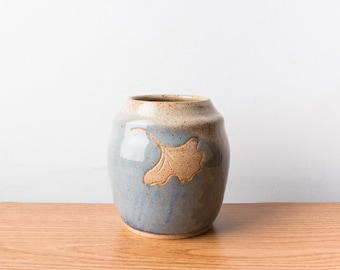 Blue and Beige Handmade Planter / Ceramic Pottery Planter / Hand Thrown Stoneware Ginkgo Planter / Mother's Day Gift IN STOCK