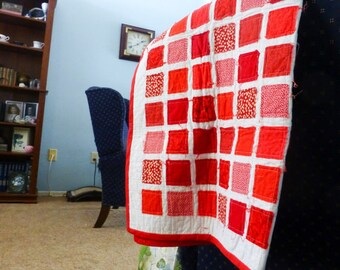 Rag quilt for sale, red blanket, rag quilt throw, ready to ship, handmade, rag blanket, wedding present, green quilt, housewarming gift